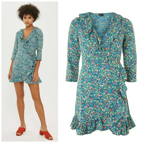 86af09d1aa038f Topshop Dresses | Nwt Floral Garden Ruffle Wrapdress | Poshmark